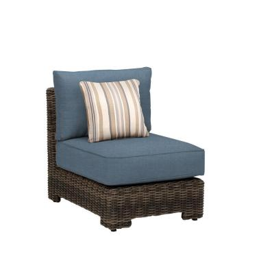 Northshore Middle Armless Patio Sectional Chair with Denim Cushion and Terrace