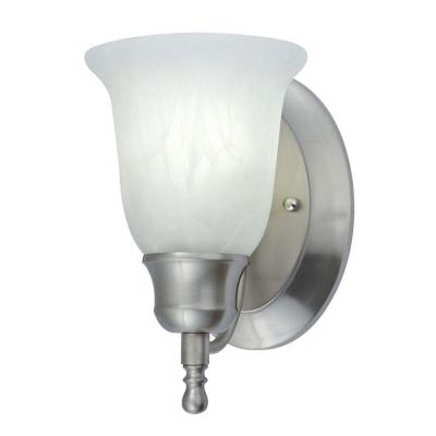 1-Light Nickel Fluorescent Vanity Sconce with Alabaster Glass
