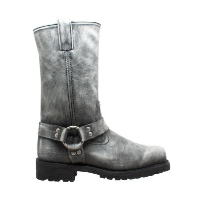 Men's Stonewash Pull On Motorcycle Boots - Soft Toe