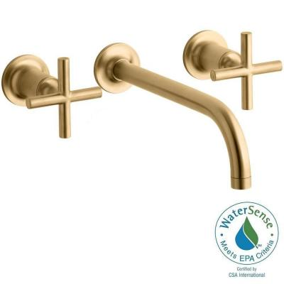 Purist Wall-Mount 2-Handle Water-Saving Bathroom Faucet Trim Kit in Vibrant Moderne Brushed Gold Product Photo