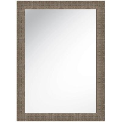 30 in x 42 in Light Brown Framed Wall Mirror Product Photo