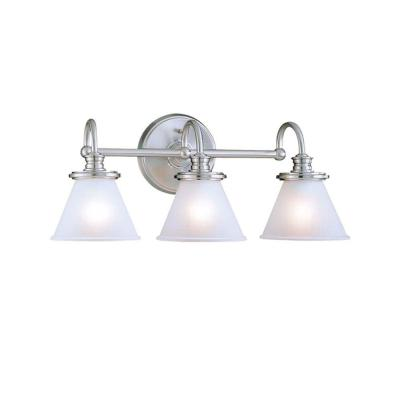 Hampton Bay Vanity Light Brushed Nickel : Hampton Bay 3-Light Brushed Nickel Wall Vanity-CBX1393-2/SC-1 - The Home Depot