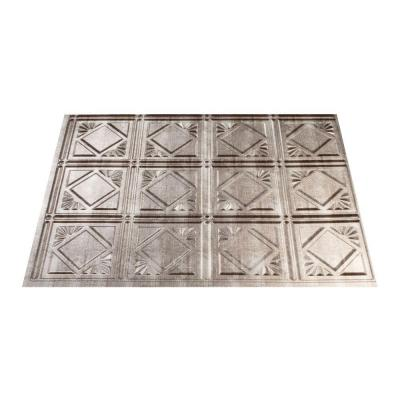 in traditional 4 pvc decorative backsplash panel in crosshatch silver