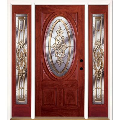63.5 in. x 81.625 in. Silverdale Brass 3/4 Oval Lite Stained