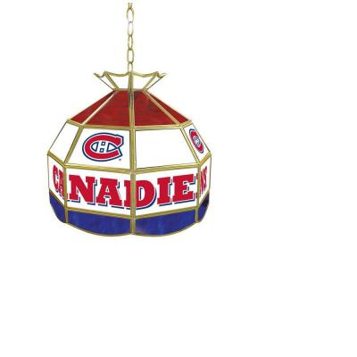 Trademark Global NHL Montreal Canadiens 16 in. Stained Glass Billiard Hanging Tiffany Light NHL1600-MC
