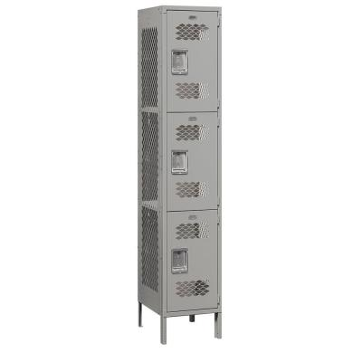 Salsbury Industries 83000 Series 15 in. W x 78 in. H x 18 in. D 3-Tier Extra Wide Vented Metal Locker Unassembled in Gray