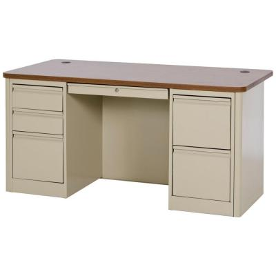 900 Series Double Pedestal Heavy Duty Teachers Desk in Putty/Medium Oak Product Photo