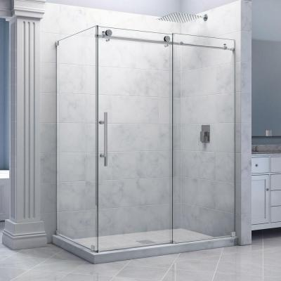 Enigma-X 56-3/8 to 60-3/8 in. W x 34-1/2 in. D x 76 in. H Frameless Sliding Shower Enclosure in Polished Stainless Steel Product Photo