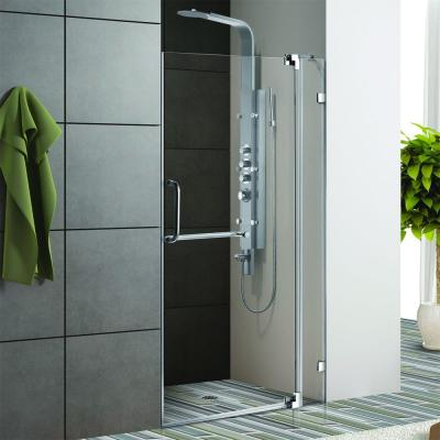 Vigo Pirouette 42 in. x 72 in. Semi-Framed Pivot Shower Door in Chrome with Clear Glass