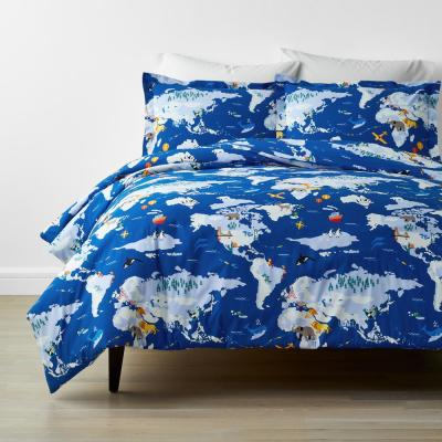 Company Kids™ Around The World Blue Multicolored Organic Cotton Percale Duvet Cover Set