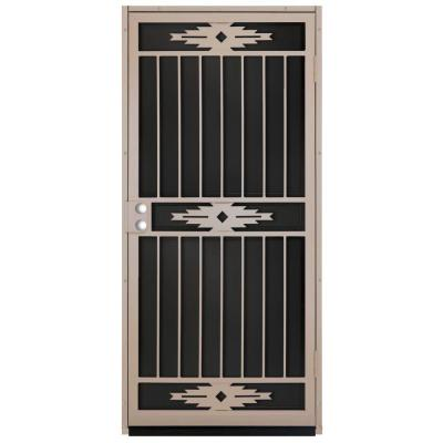 36 in. x 80 in. Pima Tan Surface Mount Outswing Steel Security Door with Black Perforated Aluminum Screen Product Photo