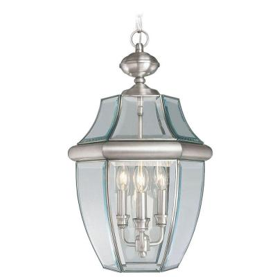 Livex Lighting Providence 3-Light Outdoor Brushed Nickel Hanging Pendant