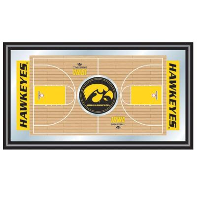 Trademark University of Iowa Basketball 15 in. x 26 in. Black Wood Framed Mirror