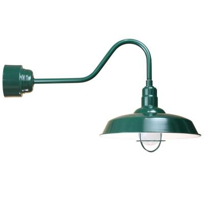 Illumine 1-Light Outdoor Green Angled Arm Wall Sconce with Frosted Glass and Wire Guard