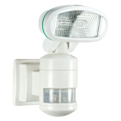 220-Degree Outdoor White Motorized Motion-Tracking Halogen Security Light