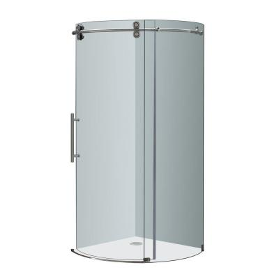 Orbitus 36 in. x 36 in. x 75 in. Completely Frameless Round Shower Enclosure in Stainless Steel with Left Opening Product Photo