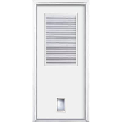 Miniblind Painted Steel Prehung Front Door with Brickmold and Pet Door