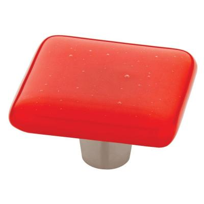 Homegrown Hardware by Liberty 1-1/2 in. Tomato Opaque Square Glass Cabinet Knob
