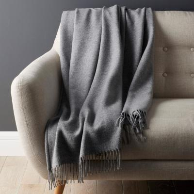 Lambswool Solid Woven Throw Blanket