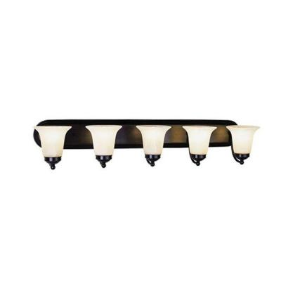 Cabernet Collection 5-Light Brushed Nickel Bath Bar Light with White Marbleized