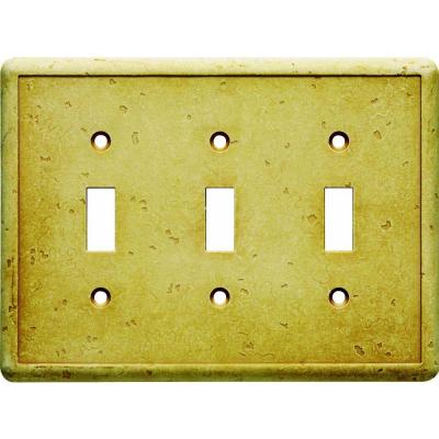 Hampton Bay 3 Gang 3 Toggle Cast Stone Wall Plate - Gold