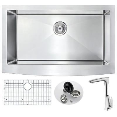 ANZZI ELYSIAN Farmhouse Stainless Steel 36 in. 0-Hole Kitchen Sink and Faucet Set with Timbre Faucet in Brushed Nickel
