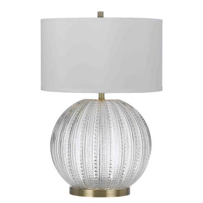 Vapor 26.5 in. Clear Glass Table Lamp with White Shade