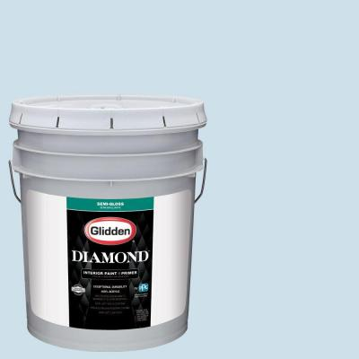 5 gal. #HDGB57U Soft Cloud Blue Semi-Gloss Interior Paint with Primer