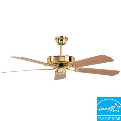 California Home Series 52 in. Indoor Polished Brass Ceiling Fan