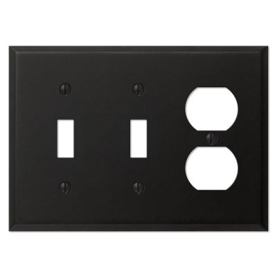 Creative Accents Steel 2 Toggle 1 Duplex Wall Plate - Black Iron