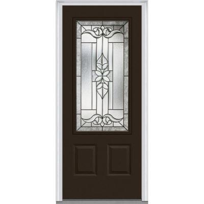 36 in. x 80 in. Cadence Decorative Glass 3/4 Lite Painted Majestic Steel Prehung Front Door Product Photo