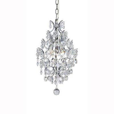 3-Light Chrome Crystal Branches Pendant Product Photo