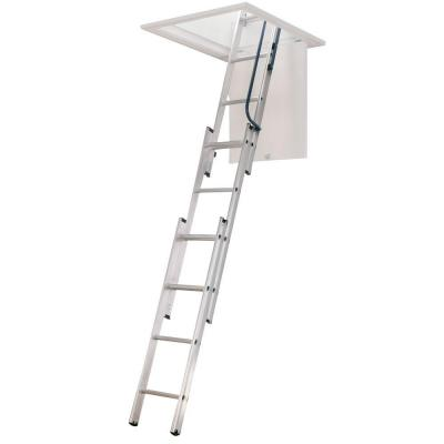 Werner 7 ft. - 9 ft., 18 in. x 24 in. Compact Aluminum Attic Ladder with 250 lb. Maximum Load Capacity