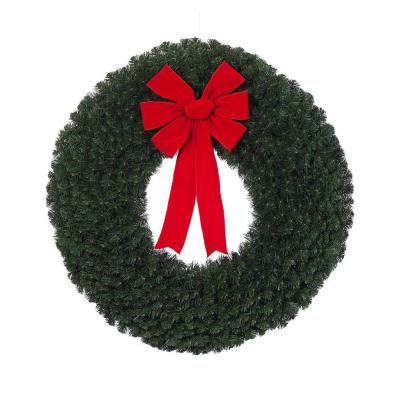 null 48 in. Noble Pine Artificial Wreath with Red Velvet Bow