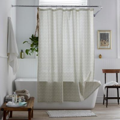 Herringbone 72 in. Organic Cotton Percale Shower Curtain