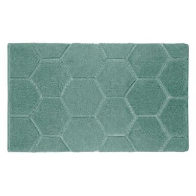 Pearl Honeycomb Lake Blue 20 in. x 32 in. Bath Mat
