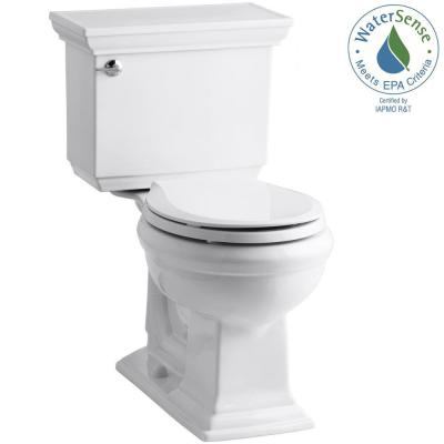 KOHLER Memoirs Stately Comfort Height 2-piece 1.28 GPF Round Toilet in White with Cachet Q3 Toilet Seat