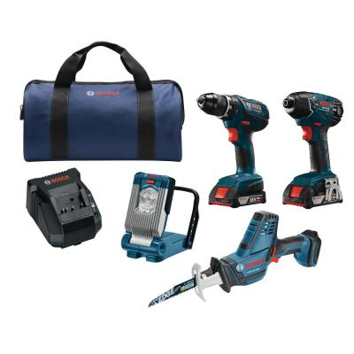 Bosch 18-Volt Lithium-Ion Cordless Drill/Driver, Impact Driver, Recip Saw, LED Work Light Power Tool Combo Kit (4-Tool)