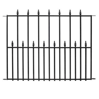 Empire 2.5 ft. x 3 ft. Black Steel 3-Rail Fence Panel