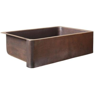 Sinkology Adams Farmhouse Apron Front Handmade Pure Solid Copper 33 In 0 Hole Single Bowl