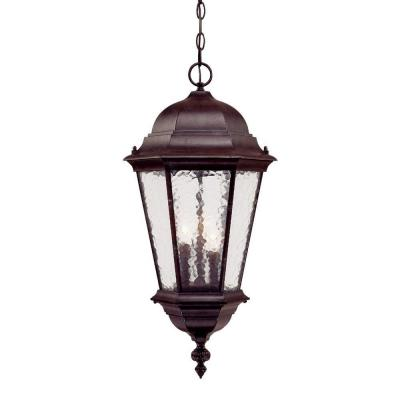 Acclaim Lighting Telfair Collection 3-Light Marbleized Mahogany Outdoor Hanging Light Fixture