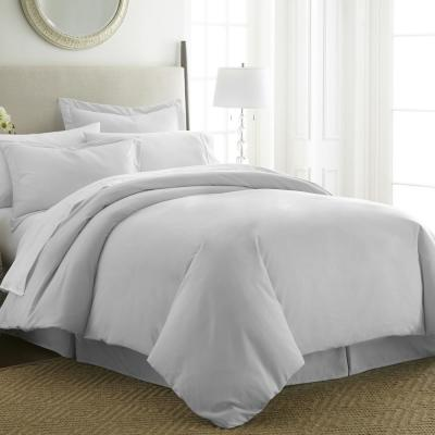 3-Piece Solid Microfiber Duvet Cover Set