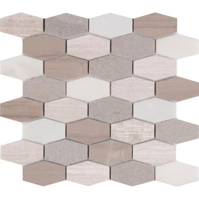 Bellagio Blend Elongated Hexagon 12 in. x 12 in. x 10 mm Honed Marble Mesh-Mounted Mosaic Tile (10 sq. ft. / case) Product Photo