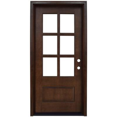 36 in. x 80 in. Savannah 6 Lite Stained Mahogany Wood