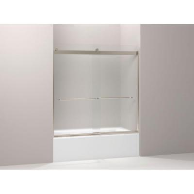 57 in frameless bypass shower tub door with frosted glass in bronze