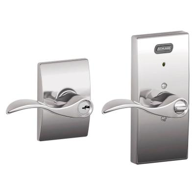 Schlage Century Collection Accent Bright Chrome Keyed Entry Lever with Built-In Alarm