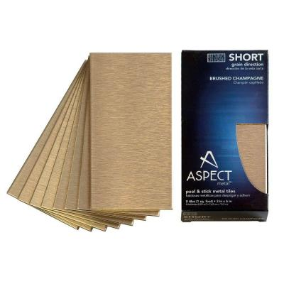 Aspect Short Grain 3 in. x 6 in. Metal Decorative Wall Tile in Brushed Champagne (8-Pack)