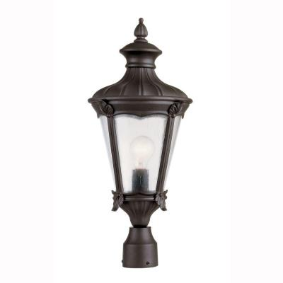Bel Air Lighting 1-Light Outdoor Black Post Top Lantern with Seeded Glass