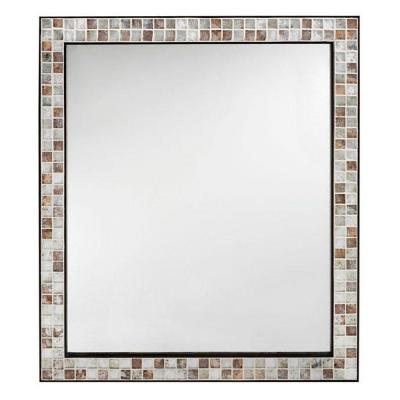 Home Decorators Collection Briscoe 32.5 in. L x 27.75 in. W Wall Mirror in Espresso Marble Tile Frame