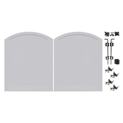 Pro Series 5 ft. W x 6 ft. H Seacoast Gray Vinyl Anaheim Privacy Double Drive Through Arched Fence Gate Product Photo